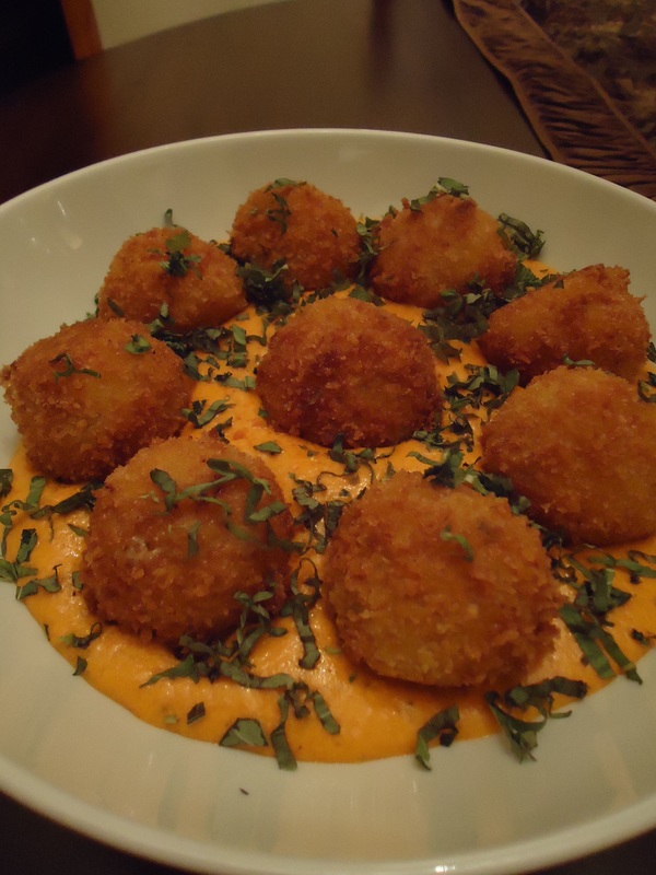 ARANCINI WITH A ROASTED RED PEPPER CREAM SAUCE